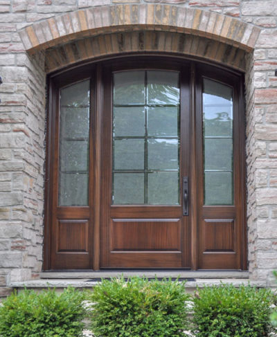 mahogany arched door
