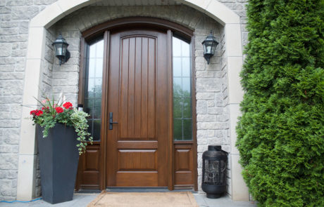 plank arched front door