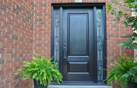 wrought iron black door